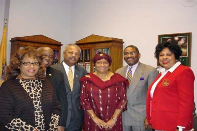 President Sirleaf with members of the U.S.Congressional Black Caucus.