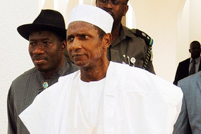 Nigeria's President Umaru Yar'Adua walks with his Vice President Goodluck Jonathan at the State House in Abuja in September 2008. The ill leader has been out of the country since November 23, last year.
