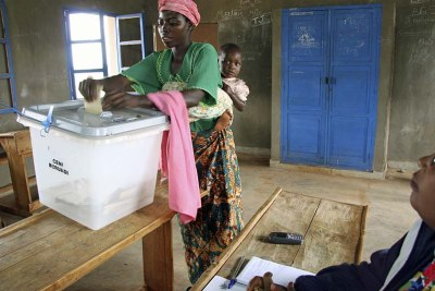 A voter casts her ballot (file photo).
