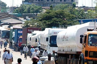 Trucks at a Kenya border post.