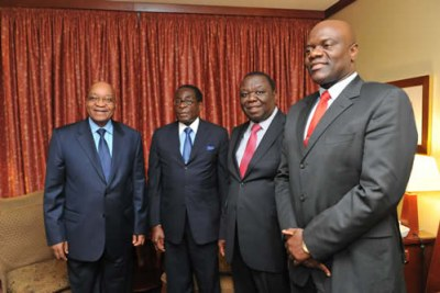 President Jacob Zuma of South Africa with, from left, President Robert Mugabe, Prime Minister Morgan Tsvangarai and Arthur Mutambara.