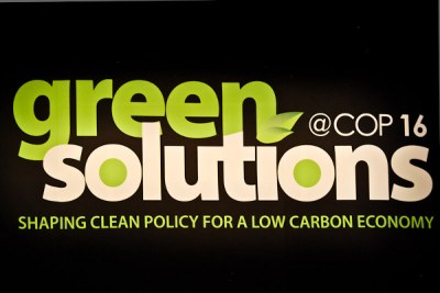 A banner for the green solutions expo in Cancun (file photo).