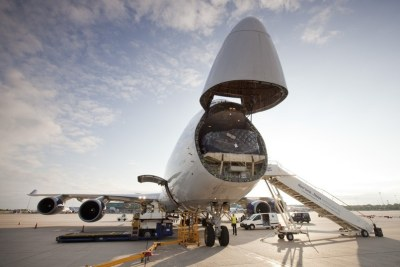 A British Airways cargo plane loaded with aid bound for East Africa.