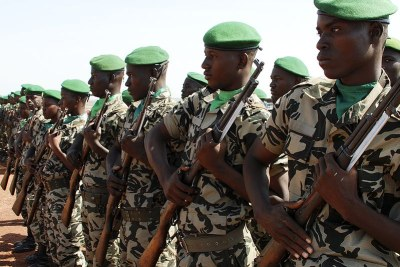 Malian soldiers stand in formation during military exercise (file photo):
