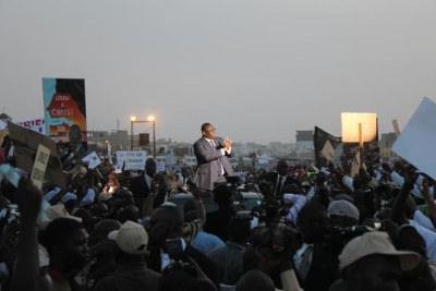 Macky Sall speaking to supporters during the presidential campaign