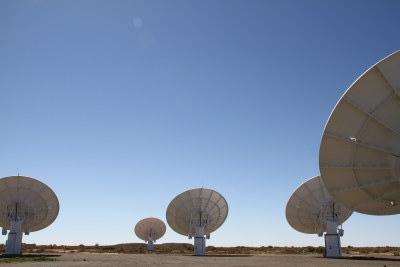 A portion of the Karoo Array Telescope - known as KAT-7 - in Northern Province, South Africa.