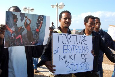 Eritreans protesting in Tel Aviv. Protests by African asylum seekers in Israel are growing, in the face of increasingly tough policies by the Israelis.