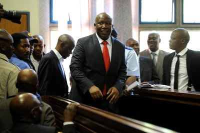 Julius Malema in the Polokwane Regional Court after he handed himself over to the Polokwane police on Wednesday morning before his court appearance.