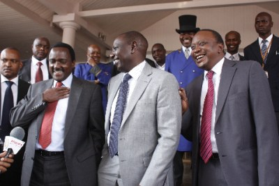 William Ruto, center, and Uhuru Kenyatta, right, face charges from the International Criminal Court for post-election violence in 2007-2008.
