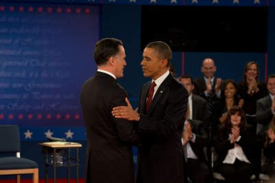President Barack Obama and Governor Mitt Romney at the second presidential debate.