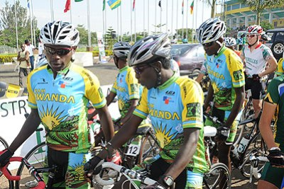 Rwandan cyclists.