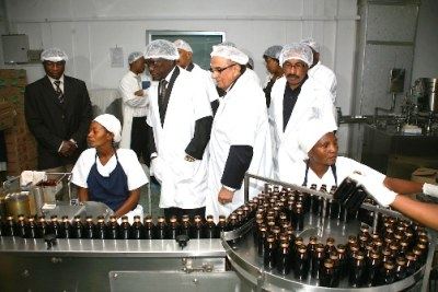 Prime Minister Mizengo Pinda (third right) inspects a pharmaceutical factory in Dar es Salaam (file photo).