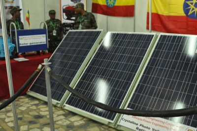 Solar panels capable of producing 236KW of energy on display.