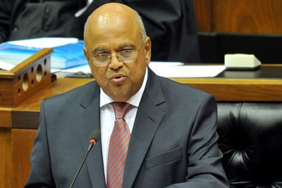 South Africa's Finance Minister Pravin Gordhan tabling the country's budget for 2013.