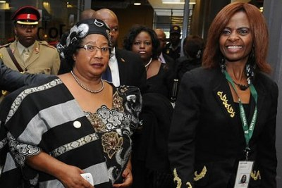Former Malawian President Joyce Banda arrives at the memorial service for former President Nelson Mandela (file photo).