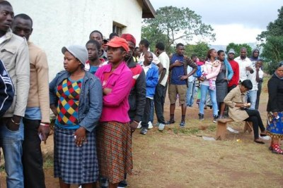 Voters in a queue at Kanjedza School in Blantyre.