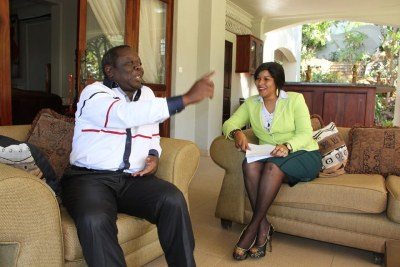 Morgan Tsvangirai resting at his home with wife Elizabeth Macheka
