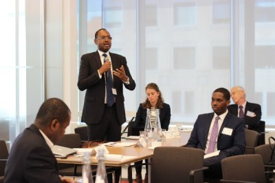 AllAfrica Executive Chair Amadou Mahtar Ba addressing the Frontier 100 Forum in Washington, DC, October 2015