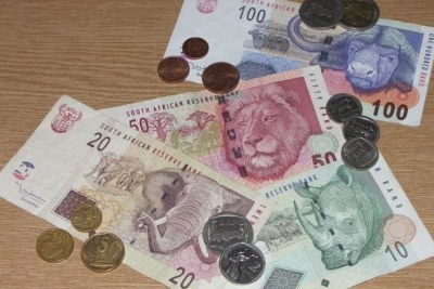 South African rands - bank notes and coins.