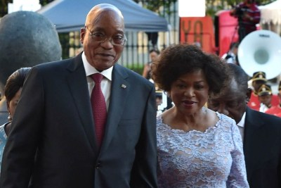 President Jacob Zuma and Speaker of Parliament Baleka Mbete arrive at Parliament for State of the Nation Address in the joint sitting of the house in Parliament, Cape Town.