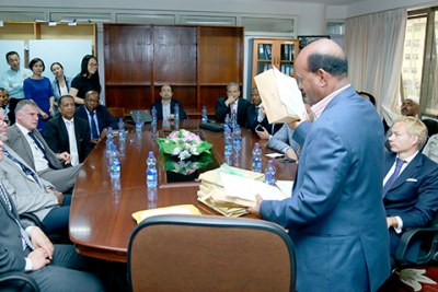 A bid meeting for a stake in the Imperial Ethiopian Tobacco Monopoly.