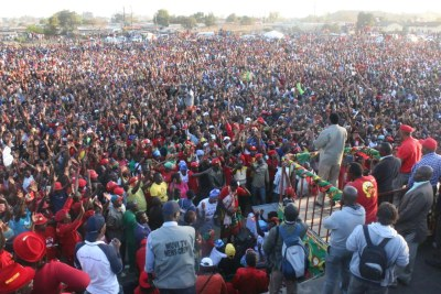 Hakainde Hichilema addressing his supporters at a Mandevu rally in Lusaka.