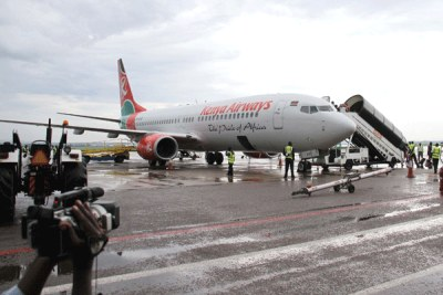 Kenya Airways aircraft at Entebbe International Airport (file photo).