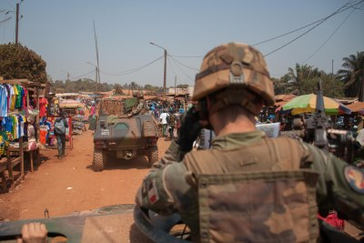 Soldiers patrol in Central African Republic, where sexual violence has been widespread.