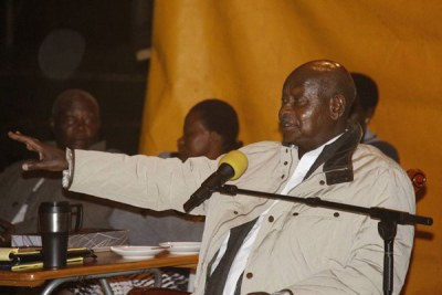 President Museveni addressing journalists in Luweero on Wednesday evening.
