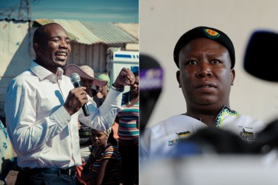 Mmusi Maimane of the Democratic Alliance and Julius Malema of the Economic Freedom Fighters.