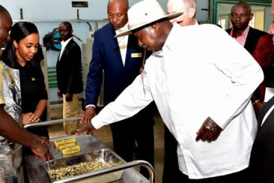 Museveni and The Minister of Energy and Mineral resources Irene Muloni at the launch.