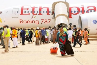 Passengers disembark at the Kaduna International Airport where international flights commenced, following a temporary closure of the Nnamdi Azikiwe International Airport, Abuja for repairs.