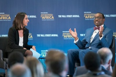 "African Development Bank President, Akinwumi Adesina, met several top investors and entrepreneurs in London at the Dow Jones News Building on March 7, 2017, for The Wall Street Journal's one-day ""Investing in Africa"" conference"