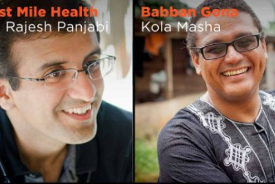 Dr. Rajesh Panjabi (Last Mile Health) and Kola Masha (Babban Gona) recipients of the 2017 Skoll Award for Social Entrepreneurship. The Skoll Awards distinguish transformative leaders whose organizations disrupt the status quo, drive sustainable large-scale change, and are poised to create even greater impact on the world.