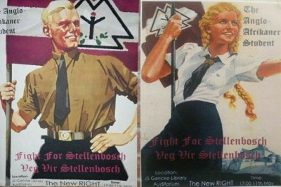 Imitation Nazi posters at the University of Stellenbosch promoting a meeting organised by a group called