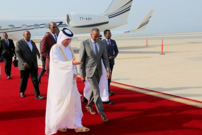 The Prime Minister of the Federal republic of Somalia Hassan Ali Khaire  arriving in Qoha, the capital of Qatar on official visit (file photo).