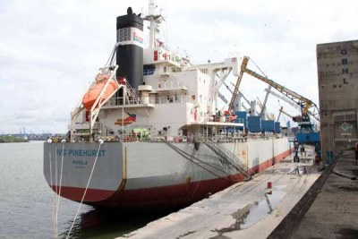The MV IVS Pinehurst after it docked at the port of Mombasa on Tuesday with 29,900 tons of maize.