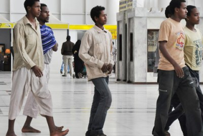 Bole International Airport started receiving Ethiopians who are leaving Saudi Arabia after the country decided to remove illegal migrants who have not regularised their status (file photo).