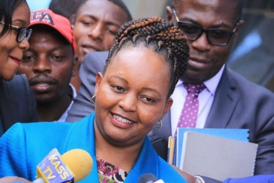 Former Devolution and Planning Cabinet Secretary Anne Waiguru, the Jubilee Party's gubernatorial candidate for Kirinyaga, at the political group's headquarters in Nairobi on May 1, 2017.