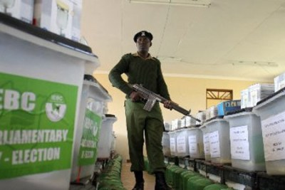 A policeman guards ballot boxes (file photo).