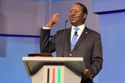 Nasa flagbearer Raila Odinga during the debate for leading presidential candidates at Catholic University.