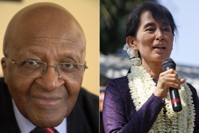 Left: Archbishop Emeritus Desmond Tutu. Right: De facto leader of Myanmar Aung San Suu Kyi.
