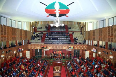 Kenyan President Uhuru Kenyatta addressing members from both sides of the house during the official opening of the 12th parliament.