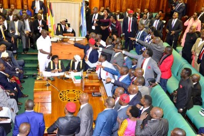 Chaos erupted in Parliament, forcing Speaker Rebecca Kadaga to adjourn the sitting.