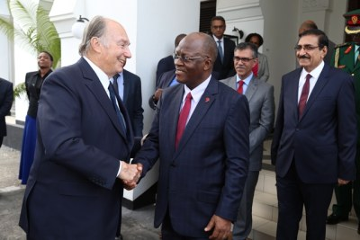 President John Magufuli bids farewell to visiting Prince Karim Aga Khan with whom he held talks at the State House in Dar es Salaam.
