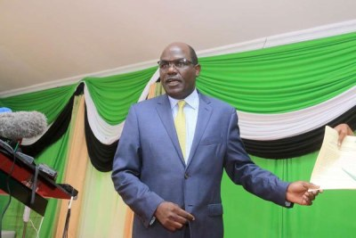 IEBC chairman Wafula Chebukati during press conference at Bomas of Kenya on October 18, 2017.