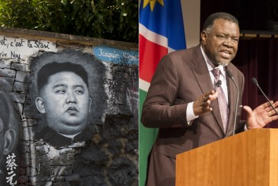 Left:     Graffiti of North Korean leader Kim Jong Un and President Hage Geingob (file photo).