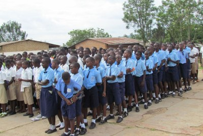 Pupils from GS Nyagatare ahead of the national exams.