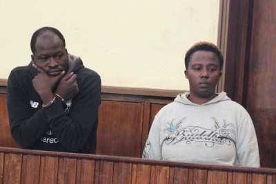Calvin Okoth (left) and Maryanne Mumbi when they appeared in court in Nakuru on November 14, 2017 charged with the murder of rugby player Mike Okombe.