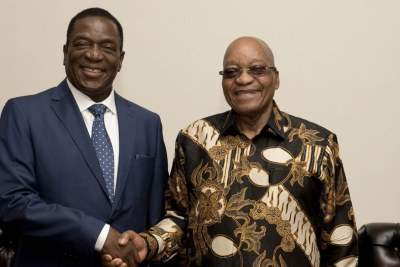 Zimbabwe's incoming leader Emmerson Mnangagwa paid a courtesy call on President Jacob Zuma before heading back to Harare, Zimbabwe today, 22 November 2017.